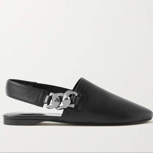 GIVENCHY Chain Embellished Slingback Black Leather Mules / Flats